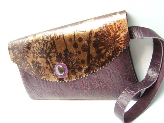 SALE Dandie LEATHER Wristlet Eggplant Purple, Bronze
