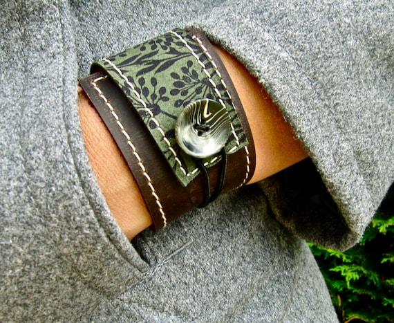 Leather Cuff Women's Wrap Bracelet, Florance Print in Brown & Asparagus, Adjustable Size * SALE * Coupon Codes