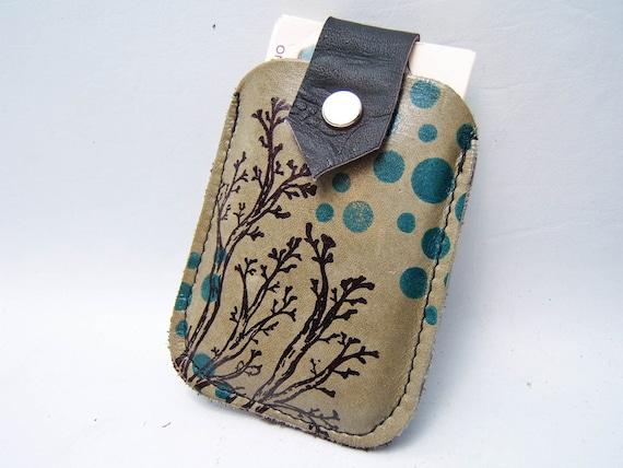 Twiggy LEATHER Card Case Dusty Sage
