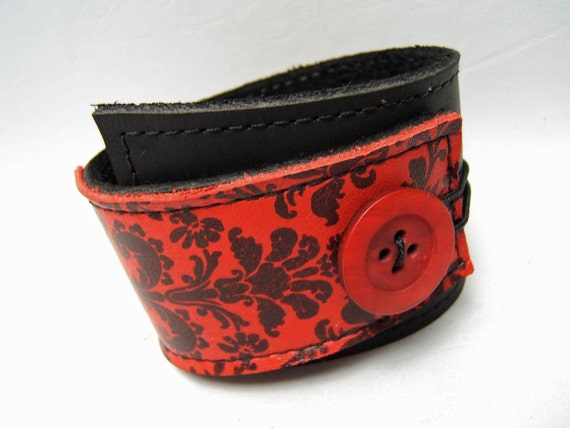 Tapestry Wrap LEATHER Cuff Black, Red