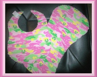 Sweet Pink Frog and Chenille Baby Girl Bib and Burp Pad Set