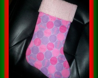 Pink and Purple Barbie Dots and Chenille Handmade Christmas Stocking with FREE US SHIPPING