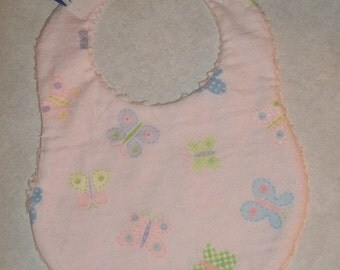 Sweet Pink and Purple Butterfly with Chenille Baby Girl Bib