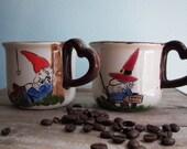 Vintage Ceramic Gnome Coffee Mugs