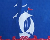 Red White and Blue Sailboat Motif Vintage Hand Towel - Beach Cottage