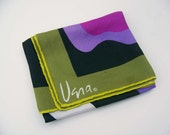 Vintage Vera Scarf 1960s Modern Design in Shades of Green and Purple, Black and White