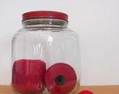 1940s Duraglas Jar with Original Red Lid . Rustic Country Farmhouse Decor