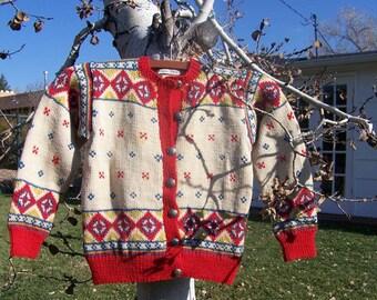 Childs Antique Hand Knit Norwegian Sweater