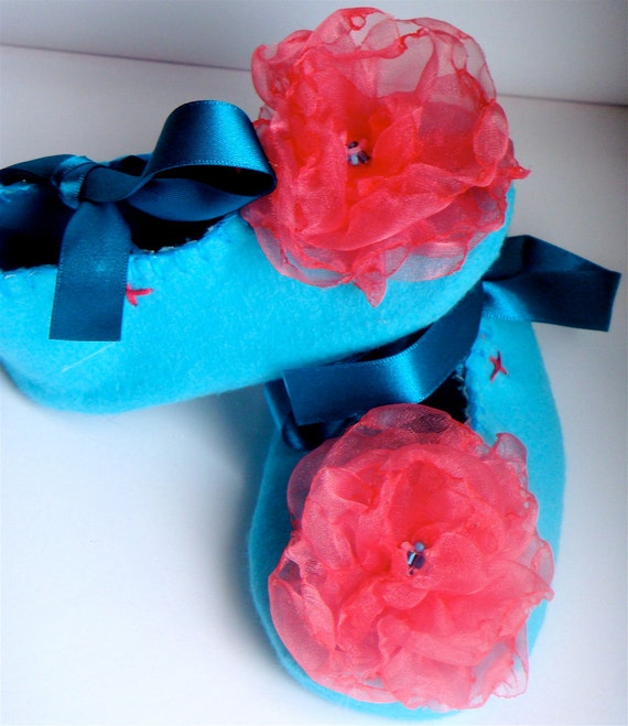 Turquoise and Pink Organza Felt Baby Booties/Shoes