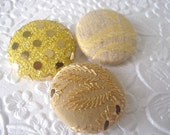 3 yellow buttons, fabric button, sequin button, eyelet button, 1 1/8 inch button, handmade button