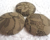 Olive green buttons, lace buttons, covered buttons,  size 60 buttons, shank buttons, price per button