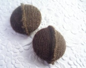 Dark brown, cashmere button, 1 1/8 inch button, colorblock button, bicolor button