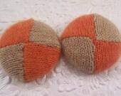Orange beige buttons, cashmere buttons, color block buttons, fabric buttons, 1.5 inch button, size 60 buttons, price per button