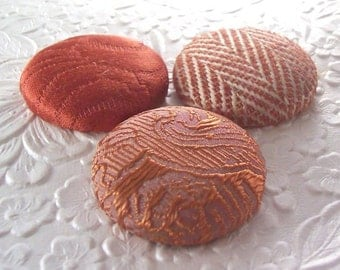 3 umber buttons,  fabric buttons, covered buttons, textured buttons, 1.5 inch button, size 60 buttons