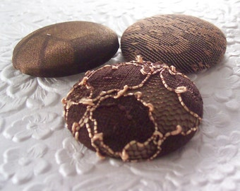 3 brown coffee bean buttons, fabric buttons, covered buttons, textured buttons, 1.5 inch button, size 60 buttons