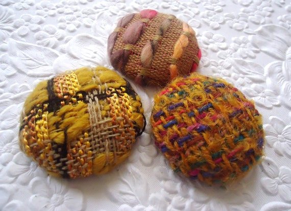 Yellow buttons, wool buttons, boucle buttons, fabric buttons, size 60 buttons, set of 3 buttons