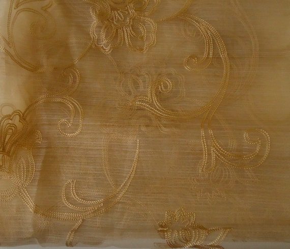 RESERVED  - Fabric YARDAGE - sheer gold with scrollwork  - 27 x 70 inches