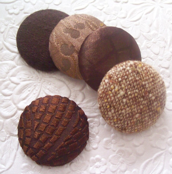 Brown buttons,  tweed buttons,  fabric buttons,  size 60 buttons, set of 5 buttons