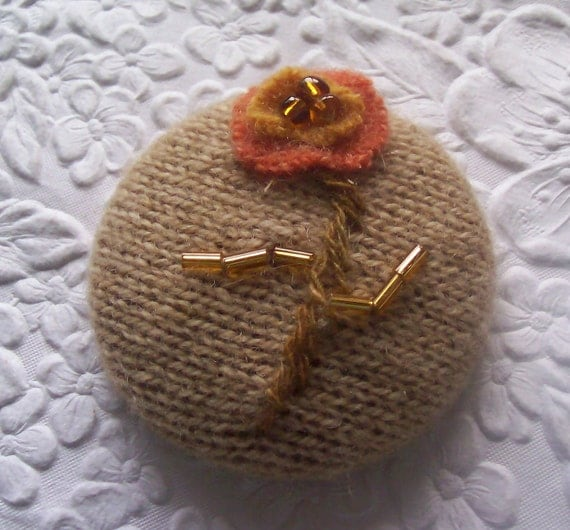 Cashmere button, beaded button, fabric covered button, beige orange button,1 7/8 inches, button brooch, magnetic button
