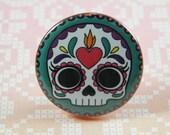 Sugar Skull Pin Back Button