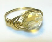 SALE - CITRINE RING with gold toned wire