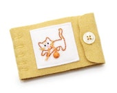 Wool Needle Book Hand Embroidered Kitten Gold Yellow