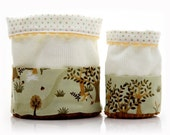 Fabric Basket Set Japanese Sage Forest with Brown Corduroy