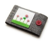 Needle Book, Grey and Red, Small with Hand Embroidered Flowers, Travel Sewing Case, Wool and Felt