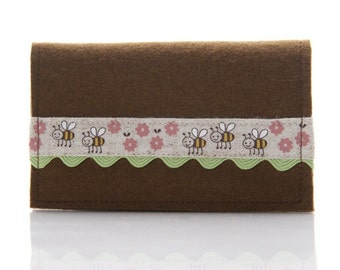 Business Card Holder, Wool Card Wallet, Business Card Case, Cute Card Wallet, Kawaii Card Holder, Handmade Wool Wallet, Bumble Bee Wallet