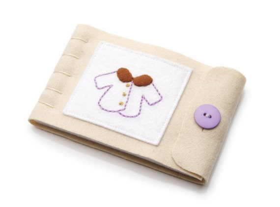 Wool Felt Needle Book, Hand Embroidered Coat, Natural Wool, Purple and Tan, Large Size, Ready to Ship, Sewing Accessory, Seamstress Gift