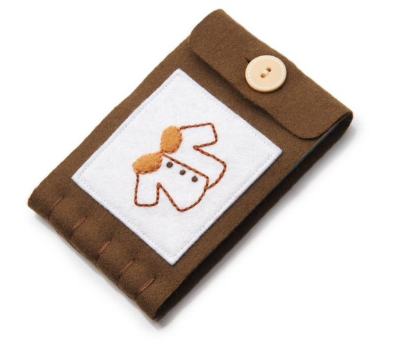 Large Wool Needle Book, Embroidered Needle Keeper, Pin Storage, Sewing Accessory, Brown Wool Felt Book, Pin Case, Sewing Kit, Needle Minder