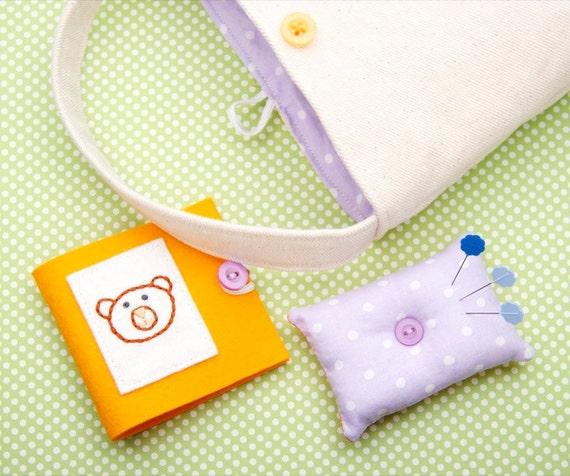 Beginner Sewing Set, 3 Piece Set, Teddy Bear, Mango Orange, Purple, Project Tote Bag, Pin Cushion, Needle Book, Felt Sewing Set, Small Size