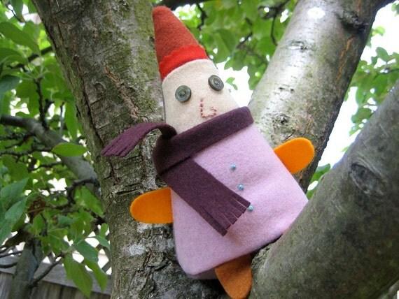 Felt Christmas Elf, Purple Wool Gnome named Chummy