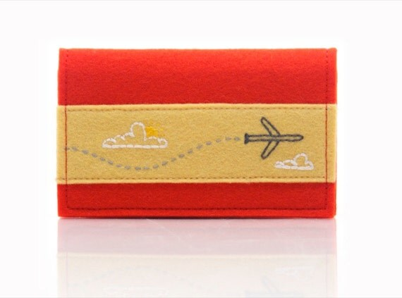 Business Card Holder, Embroidered Jet Airplane, Red Wool Felt Card Carrier, Business Card Case, Handmade Card Wallet, Plane Wallet
