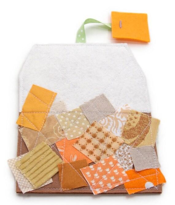 Felt Tea Bag Drink Coaster with Scrappy Fabric