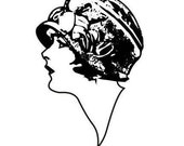 Lady Profile UM rubber stamp LARGE, woman, flapper, No.2