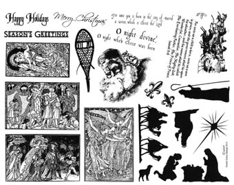 Christmas images 8 1/2 x 11 rubber stamp sheet, nativity silhouettes, Santa, Angels, horses and sleigh, Sweet Grass Stamps No.13