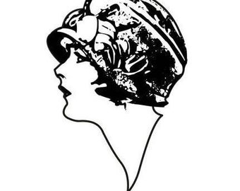 Lady Profile UNMOUNTED rubber stamp large, woman, flapper, art deco style, 1920's fashion, Sweet Grass Stamps No.2