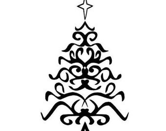 SCROLL TREE, unmounted Christmas rubber stamp  No.7