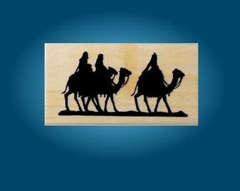 Magi on Camels Silhouette mounted Christmas rubber stamp No.13