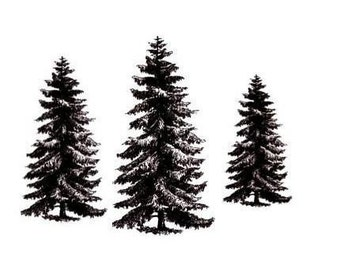 PINE TREE set, 3 unmounted rubber stamps No.19