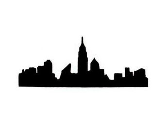 New York City Skyline silhouette Unmounted rubber stamp, NYC No.15