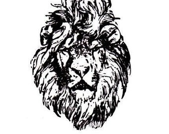 LION FACE Unmounted African rubber stamp No.17