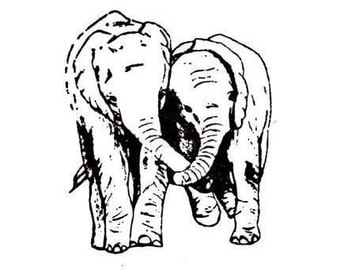 ELEPHANT FRIENDS African unmounted rubber stamp, small No.17