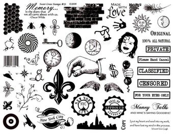 CHAOS - little bit of everything...  8 1/2 x 11 rubber stamp sheet, No. 15