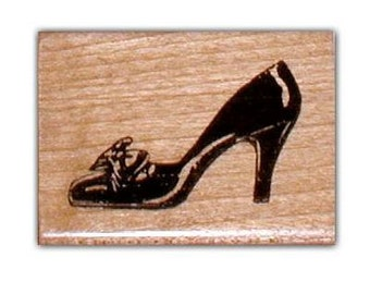 Ladies Pump, high heeled shoe mounted rubber stamp, large No.2
