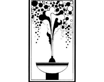 Bubbling Fountain, unmounted rubber stamp, art deco, fantasy, celebration, Sweet Grass Stamps No.4