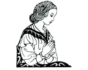discontinued - PRAYING WOMAN unmounted rubber stamp, prayer, religious, Sweet Grass Stamps No.11 was - 4.00