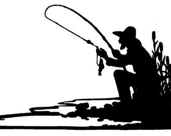 FISHERMAN SILHOUETTE Unmounted fishing rubber stamp No.14