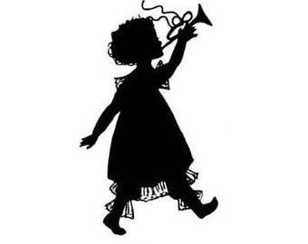 GIRL WITH HORN silhouette unmounted rubber stamp, lg. No.1